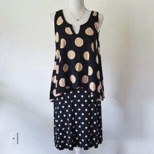 Anthropologie Maeve Polka Dot Layered Davina Dress